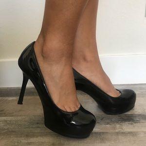 YSL Platform Patent leather heels